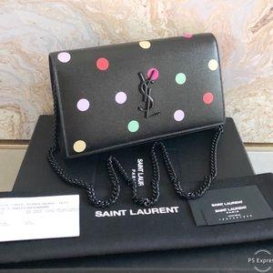 Saint Laurent Confetti Polka Dot Wallet On Chain